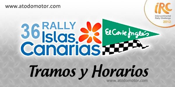 """Tramos y Horarios del Rally Islas Canarias """"El Corte Inglés"""" IRC 2012"""