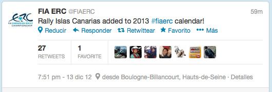 Mensaje en Twitter en la cuenta oficial del ERC: El Rally Islas Canarias añadido al calendario 2013