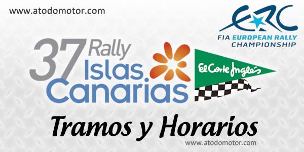 """Tramos y Horarios del Rally Islas Canarias """"El Corte Inglés"""" ERC 2013"""