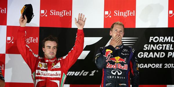 Vettel y Alonso en el GP de Singapur
