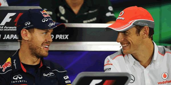 Vettel y Button en la rueda de prensa previa al GP