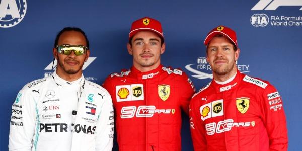 Hamilton, Leclerc y Vettel