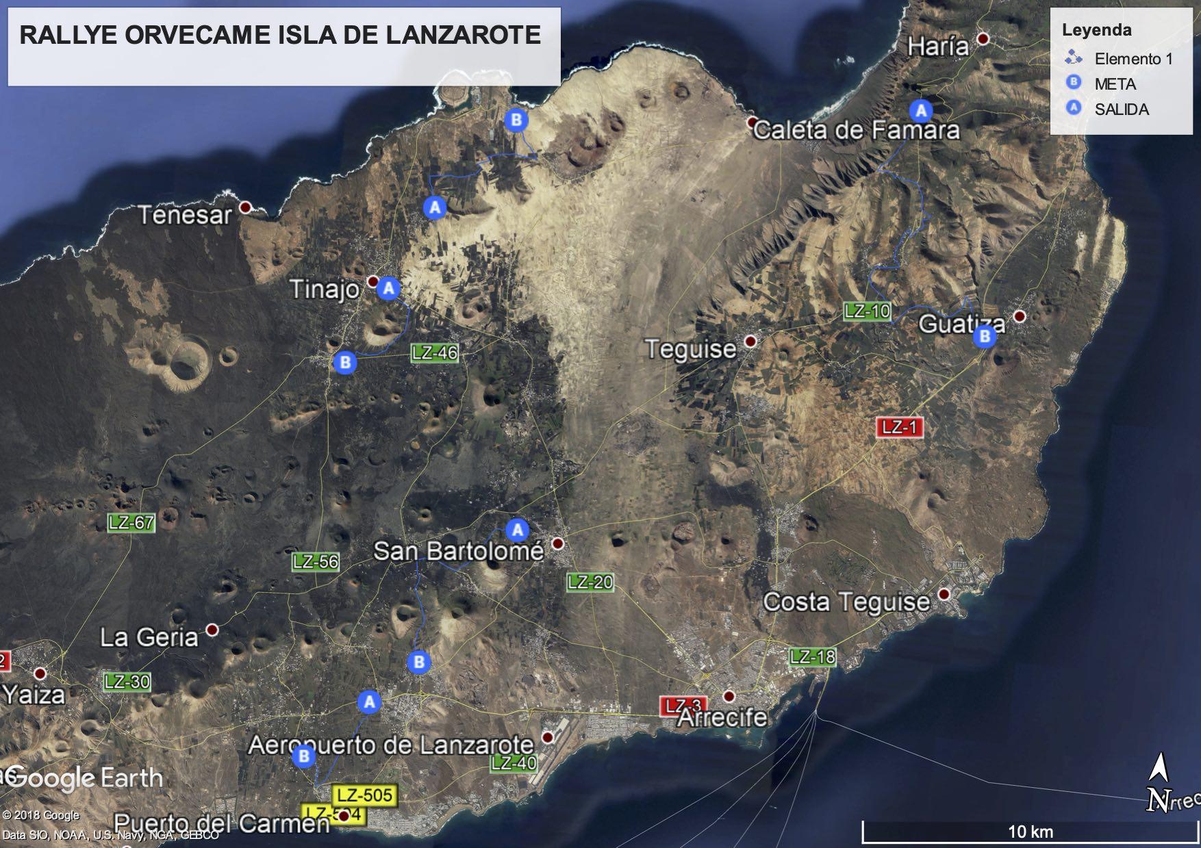 Isla De Lanzarote Mapa.Mapa Tramos Y Horarios Del Rallye Orvecame Isla De